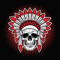 Skull of Indian Native American Warrior Vector Royalty Free Stock Photo