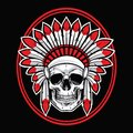 Skull of Indian Native American Warrior Vector With Red Feather Royalty Free Stock Photo