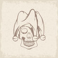 Skull in jester cap grunge vector design Royalty Free Stock Photo