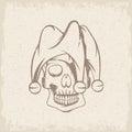 Skull in jester cap grunge vector design Royalty Free Stock Photo