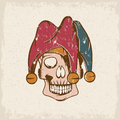 Skull in jester cap grunge vector template Royalty Free Stock Photo