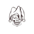 Skull in jester cap vector design Royalty Free Stock Photo