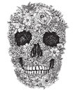 Skull made out of flowers vector illustration a Stock Image