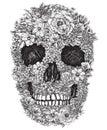 Cráneo hecho fuera de flores