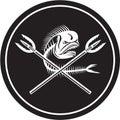 Skull Mahi Mahi Dolphin Fish Crossed Spears Circle Retro Royalty Free Stock Photo