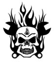 Skull with Mechanics Wrench and Flames Royalty Free Stock Photo