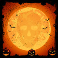 Skull on moon background scary halloween night with pumpkins and illustration Royalty Free Stock Images