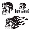 Skull in motorcycle helmet with fire. Born to ride. Royalty Free Stock Photo