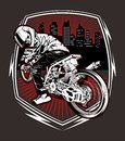 Skull motorcycle racing hand drawing vector