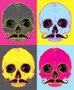 Skull with moustache vector illustration pop art