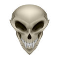 Skull of a mutant an alien with fangs on white background Stock Photo
