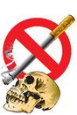 Skull and no smoking graphics is dangerous to destroy all life to death are toxic to the body the represents the death of the Royalty Free Stock Photography