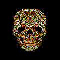 Skull ornate scull on black background bright and colorful Stock Photo