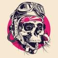 Skull with Pilot Helmet Illustration Royalty Free Stock Photo