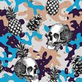 Skull pineapple cone military background