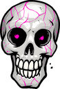Skull with pink eyes grey Royalty Free Stock Images