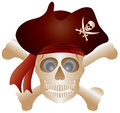Skull with Pirate Hat Illustration Stock Image
