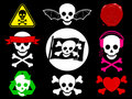 Skull pirate icon collection Royalty Free Stock Photos