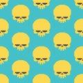 Skull pixel art seamless pattern. head of skeleton pixelated bac