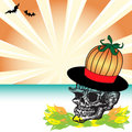 Skull with pumpkin hat Stock Images