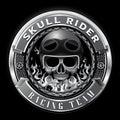Skull rider racing team badge club team vector