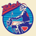 Skull rider ride a motor cycle vector of Stock Image