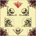 Skull and rose frames set in old school tattoo style Stock Photo