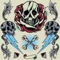 Skull, Rose, Thunder, Pyramid, Ribbon, Bone Cross and Floral Ornament Royalty Free Stock Photo