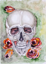Skull and roses abstract still life death life are always together concept watercolor painted art illustration Stock Photo