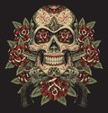 Skull and Roses with Revolvers Tattoo Illustration Royalty Free Stock Photo