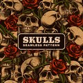 Skull with roses seamless pattern