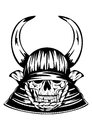 Skull in samurai helmet with horns vector illustration Royalty Free Stock Photo