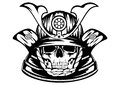 Skull in samurai helmet vector illustration Royalty Free Stock Photos