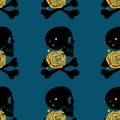 Skull seamless pattern on blue background Royalty Free Stock Photo