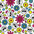 Skull seamless pattern day of the dead cute floral bright colorful Royalty Free Stock Photo