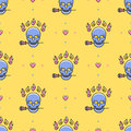 Skull seamless pattern Vector Icons: skull, rose, fire, heart