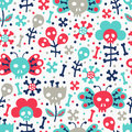 Skull seamless pattern vector texture with floral fuuny Stock Photography