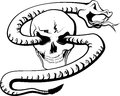 Skull with snake black and white vector of a withering through the eyes of a Stock Image