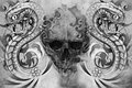 Skull and snakes tattoo design over grey background textured backdrop artistic image Stock Photography