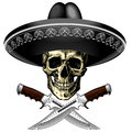 Skull in sombrero with two knives on a blank background Royalty Free Stock Photo
