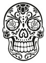 Skull sugar skull traditional mexican in black Royalty Free Stock Images