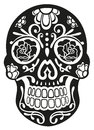 Skull sugar skull traditional mexican in black Royalty Free Stock Photo