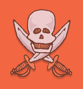 Skull and swords emblem cartoon pirate icon or death Stock Photography