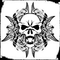 Skull tattoo in black ink Stock Images
