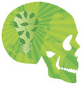 Skull Think Green with Lightbulb Illustration Royalty Free Stock Image