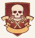 Skull and two crossed revolvers tattoo gun gun with bones badge emblem Royalty Free Stock Image