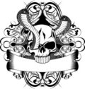 Skull and two snake Royalty Free Stock Images