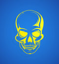 Skull vector illustration of the shape on blue backdrop Royalty Free Stock Photos