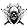 Skull of Viking Warrior with Crossed Swords Vector