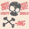 Skull warning vintage illustration with Stock Image